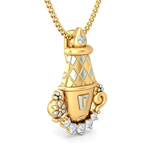 Or jaune 18K 0.09CT TW Round-cut-diamond (IJ   SI) Pendentif