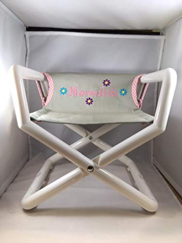 (Hoohobbers Personalized Grey Pink Canvas Flower Themed Kids Directors Chair - Embroidered - Personalized (email us The Name of Your)
