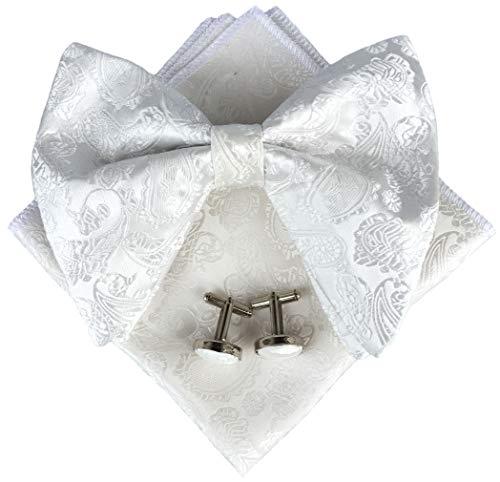 Mens Pre-Tied Paisley Bowtie Oversized Tuxedo Bow Tie Hankie Cufflinks Set (White)