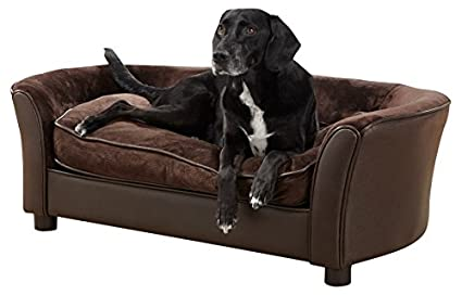 Enchanted Home Pet Ultra Plush Panache Pet Sofa In Pebble Brown, Medium (26