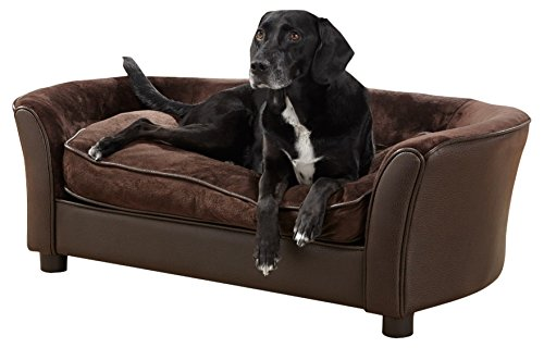 Enchanted Home Pet Ultra Plush Panache Pet Sofa in Pebble Brown, Medium (26-50 lbs)
