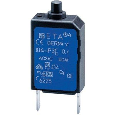 E-T-A Circuit Protection and Control 104-PR-3A , Circuit Breaker; Therm; Push; Cur-Rtg 3A; PCB; 1 Pole; Vol-Rtg 240/48VAC/VDC
