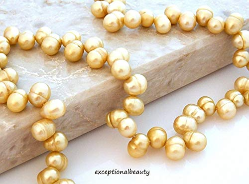 Taupe Tan Genuine Cultured Freshwater 9x7mm Pearl Rice Top Drilled Drop Beads