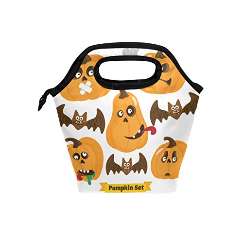 (Anneunique Custom Halloween Punpkin Insulated Neoprene Lunch Box Bag,Halloween Bat Portable Lunch Tote Bag Organizer for Men Women)