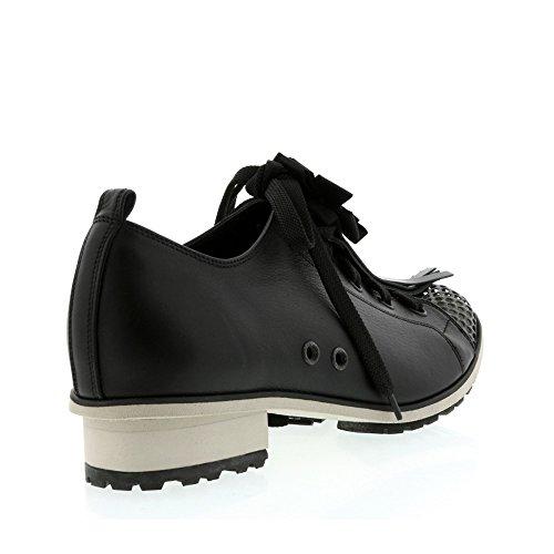 Lena Lumelsky Black Leather / Mesh Lace Up Sneaker Black