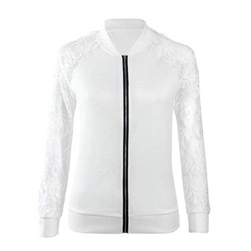 moda larga de Chaqueta mujer encaje para abrigo de chaqueta ropa la calle mujeres de Chaqueta a blanco Outwear de las casual de de blanco o Challeng Traje manga abrigo l q1xBTHX