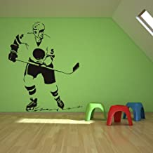 Ice Hockey Player Wall Sticker Sport Wall Decal Art available in 5 Sizes and 25 Colours Medium Black