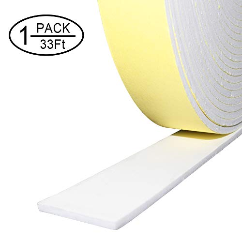 Foam Insulation Tape Adhesive,Weather Stripping for Doors,Seal,Weatherstrip,Waterproof,Plumbing,HVAC,Windows,Pipes,Cooling,Air Conditioning,Weather Stripping, Craft Tape (33 Ft- 1/8
