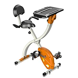 SereneLife Exercise Bike   Upright Stationary Foldable Bicycle Pedal  Trainer Fitness Machine Equipment W/ Laptop Tray For Workout, Weight Loss,  ...