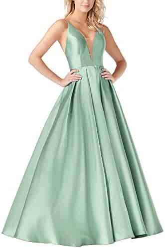 6613924c4bf HQueen Women A Line Sexy Deep V Neck Sleeveless Bridesmaid Dresses Stain  Backless Long Evening Gowns