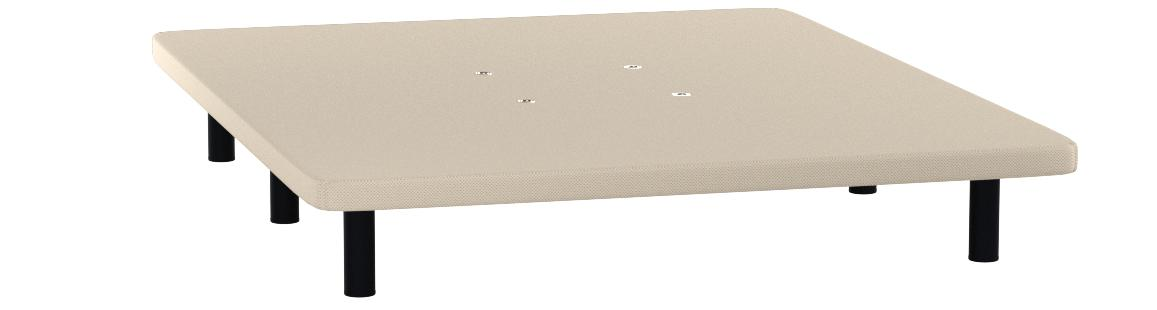 HOGAR24 ES Base tapizada 150 x 190 Reforzada con 7 Patas metálicas Alto 26 cm, tapizado 3D Color Beige + 4 válvulas de transpiración.