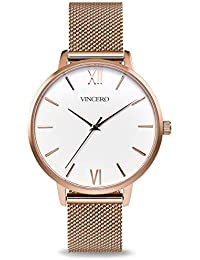 Luxury Womans Eros Watch — Rose Gold + White dial with a Rose Gold Mesh Strap