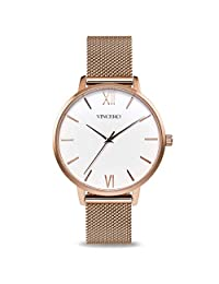 Vincero Luxury Woman's Eros Watch — Rose Gold + White dial with a Rose Gold Mesh Strap Band — 38mm Analog Watch — Japanese Quartz Movement