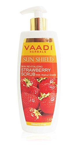 (Strawberry Scrub Moisturizing Lotion With Walnut Grains - Lightens and Softens The Skin - Reduces Pigmentation and Tanning - Removes Dead Skin Cells - Suitable For All Skin Types - 12.31 Ounces (350 Milliliter) - Vaadi Herbals)