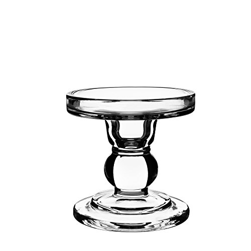 "CYS EXCEL Clear Glass Pillar Candle Holder - Taper Candle Stand - Dual Use for Pillar or Taper Candlesticks-3.5"" H- Pack of 2 PCS"