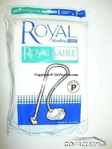 Royal / Dirt Devil Standard Paper Bags - 7 Packs - Airo-Pro Canister plus 1 filter - Type P Part# 3-RY1100-001 Royal Dirt Devil