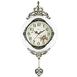 HENSE 13-inch Antique Retro Elegant Decorative Wood Clocks Ultra Mute Silent Quartz Movement Wooden Wall Clock with Swinging Pendulum HP06 (White)