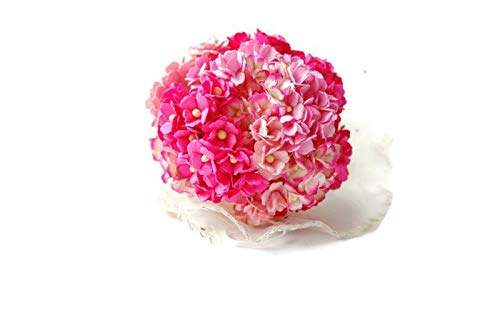 (N.63) 100 Pcs Double Layer Daisy Mulberry Pink Tone Paper Flower Mixed Scrapbooking Wedding