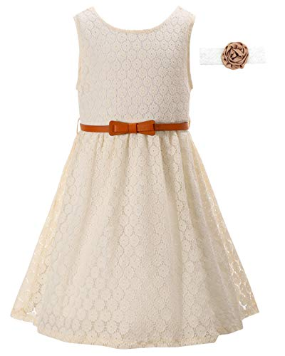 Kids Dress Lace Flower Girl Beige Vintage Church Country Sundress Formal Wedding Dress for Kids Toddler Girls A-Line Sleeveless Celebration Party Special Occasion Dresses with Belt (Beige,140)