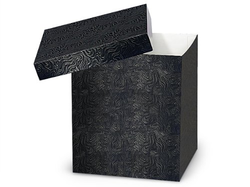 Pack of 50, Black Swirl Hi-Wall 8 x 8 x 9'' 100% Recycled Giftware Box Base Use Food Safe Barrier Like Food Grade Tissue or Cello for Food Packaging(Lids Sold Separately) by Generic