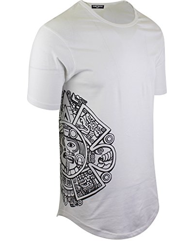 Aztec Print Shirt - Mayan Calendar Mens Hipster Long Drop Cut Tail Shirts Side Print (L)