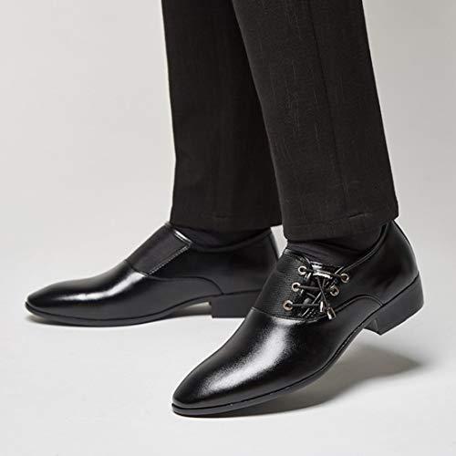 Cuero Vestir QinMM Zapatos Negocios Negro Boda Calzado Hombre Cordones Oxford qHUta