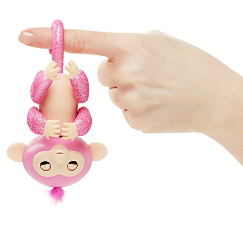 Fingerlings Glitter with Blanket - Interactive Baby Monkey Rose - Amazon Exclusive
