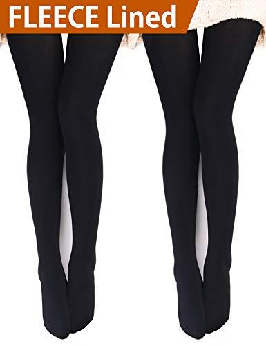 VERO MONTE 2 Pairs Womens Opaque Warm Fleece Lined Tights (BLACK) 460321 by VERO MONTE