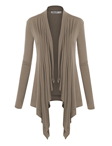 (WSK849 Womens Off-Duty Open Front Cardigan XXL Taupe)
