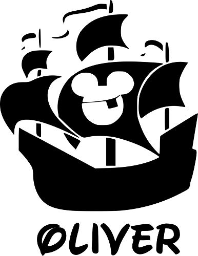 Mickey Pirate Ship Personalized Custom Name Wall Decals Wall Design Stickers Vinyl Removable Children Kids Rooms Girls Boys Baby Nursery Cartoon Size 20x20 inch ()