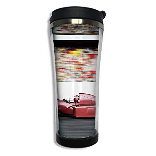 Customizable Travel Photo Mug with Lid - 8.45 OZ(250 ml)Stainless Steel Travel Tumbler, Makes a Great Gift by,Cars,Motor Sports Red Race Car Side View on a Track Leading the Pack with Motion Blur,Gra