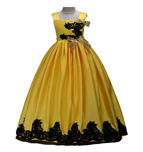 Girls Dress Satin Embroidered Wedding Party Lace Tutu Maxi Formal Long Dress Gown (Yellow, 5-6 Years)
