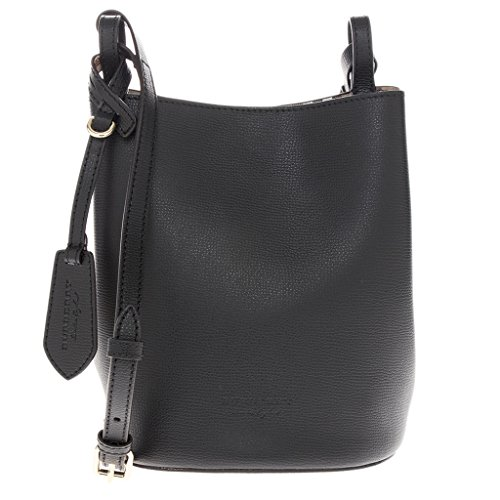Burberry Women's Leather and Haymarket Check Crossbody Bucket Bag Black Burberry Purse