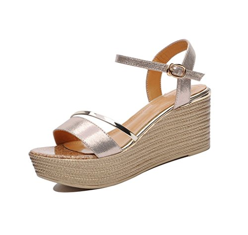 Dream Spring and Summer Elegant Exposed Toe High Heels Sexy Gold Sandals Flat Shoes (Color : Gold, Size : 38)