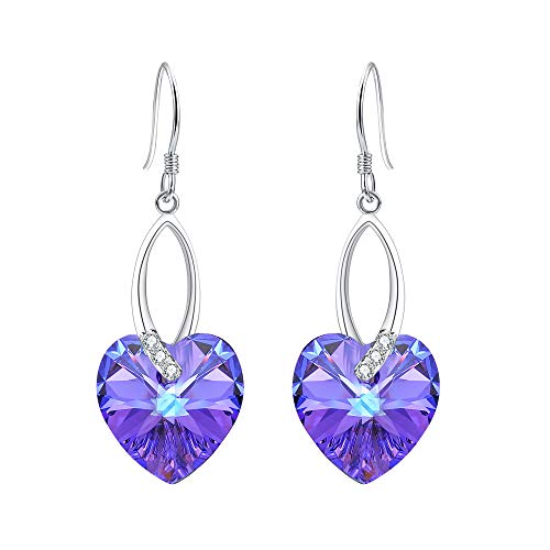 EleQueen 925 Sterling Silver CZ Love Heart French Hook Dangle Earrings Helitrope Color Made with Swarovski Crystals ()