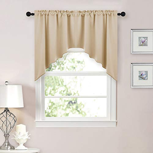 - NICETOWN Room Darkening Kitchen Tier Curtains- Tailored Scalloped Valance/Swags (Biscotti Beige, 2 Pieces, 72 inch Wide Combined, 36 inch Long)