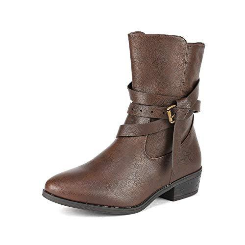 (DREAM PAIRS Women's Jake Brown Side Zipper Low Heel Ankle Bootie Size 8 B(M))