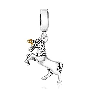 Unicorn Horse Dangle Spacer Charm by Crystal H Brand for Pandora Bracelet