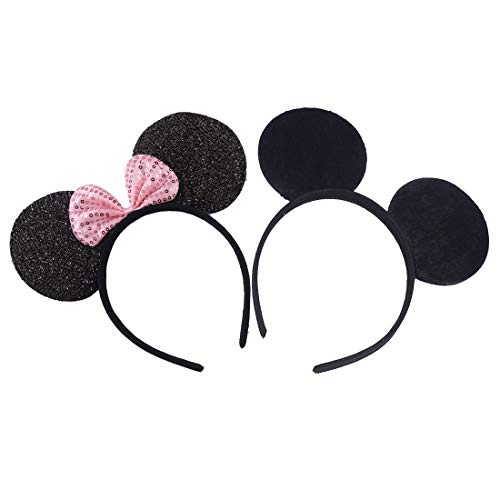 Set of 2 Mickey Minnie Mouse Ears Black Glitter Pink Sequin Bow Headband Boys Girls Mom Hair Accessories Baby Shower Headwear Halloween Birthday Party Decorations (Pink Sequin Solid Black)