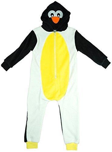 Jungen Mädchen NEUHEIT Pinguin Gesicht Kapuzen Schlafanzug Einteiler Reißverschluss Fleece Strampler Größen von 2 bis 11 Jahre 2-3 Years