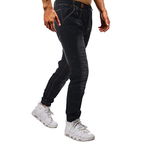 Realdo Hot!Clearance Sale Mens Casual Slim Personality Solid Elastic Splice Work Cargo Trousers Jeans Jogger Pants(30,Black) by Realdo (Image #2)