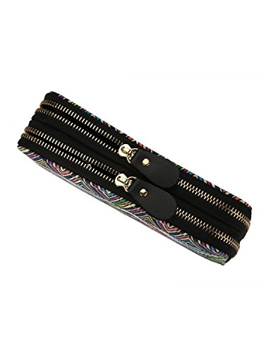 Très Chic Mailanda Geldtasche Eule Geldbeutel Tasche Portemonnaie umlaufende Reißverschlüsse mit Design Eulen groß für Damen Blume (boho 09) boho 10 MxFQXT