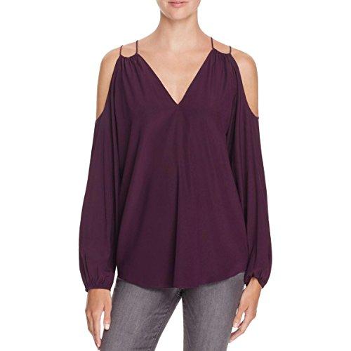 Ramy Brook Womens Gigi Silk Ruched Blouse Purple M by Ramy Brook