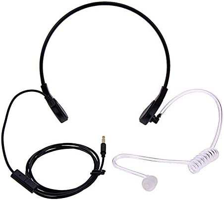 FANVERIM 3.5mm Jack Plug Cool Throat Mic Microphone Covert Acoustic Tube Earpiece Headset with Finger PTT for Mobile Phone Vocal Hands-Free in-Ear Military Headset//Headphones//Earphones