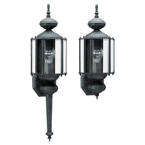 Beveled Light Wall (Sea Gull lighting 8510-12 Outdoor Wall Lantern One Light  with Clear Beveled Glass, Black)