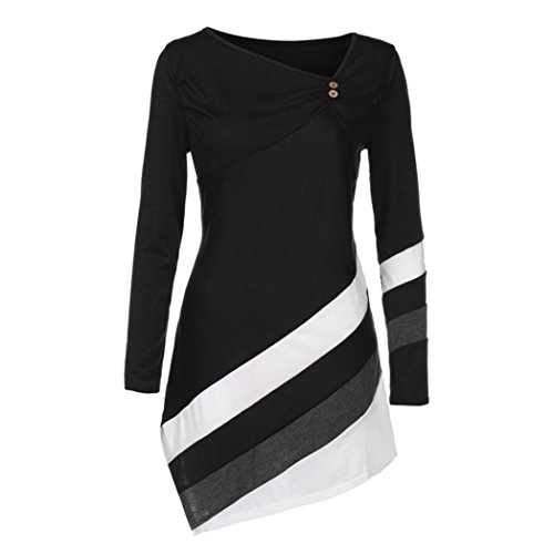 Women's Long Sleeve Stripe T-Shirt Casual Color Block Irregular Hem Blouse Tops (L, Black)