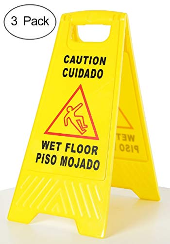 AMENITIES DEPOT (Pack of 3) 2-Sided Fold-out Floor Safety Sign with Caution Wet Floor Warning Sign(SP-17A)