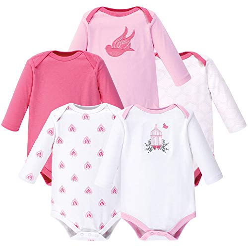 Hudson Baby Unisex Baby Long Sleeve Bodysuits, Bird Cage 5-Pack 0-3 Months (3M) from Hudson Baby