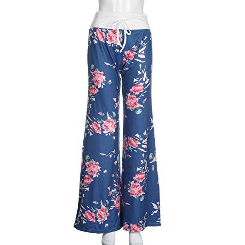 Pantalones Floral Ba Zha Women Pantalones Pierna de Mujeres Floral Deportivas Azul con Leggings Wide cordón Medias Pants Ancha Leggings y Drawstring Prints Las Hei de Vaqueros Estampados Pantalón Leg rvAOn6rq