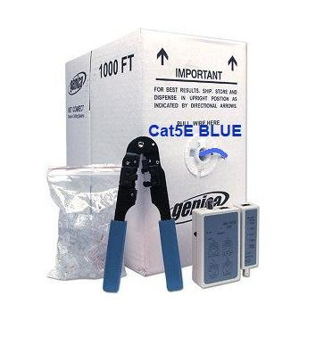 PTC Premium 1000 ft Category 5e (Cat5e) Blue Ethernet Cable Kit with tester, crimper and connectors for 10Base-T, 100Base-T, DSL / Cable modem, LAN Network, Gigabit Ethernet...